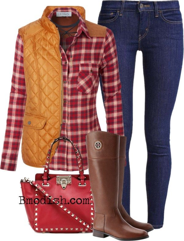 classic shoulder patch plaid shirt riding boots fall polyvore outfit bmodish