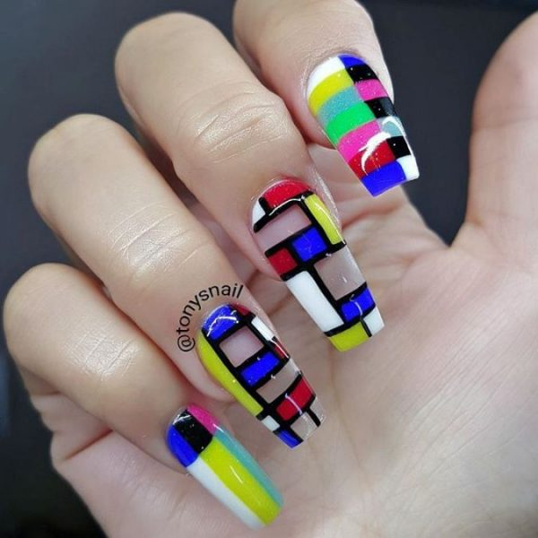 color block coffin nail design bmodish