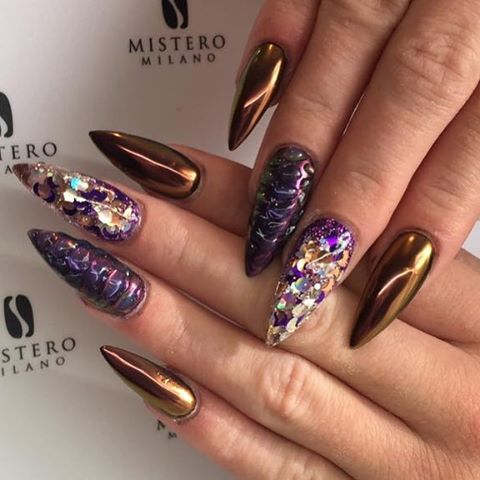 copper pointy nail art bmodish