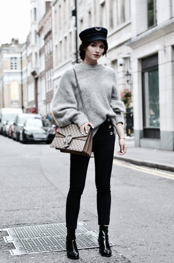 cozy sweater with skinny jeans and boots fall outfit bmodish