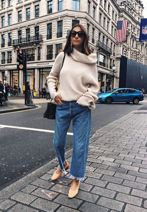 cozy turtleneck sweater with wide leg jeans fall outfit bmodish