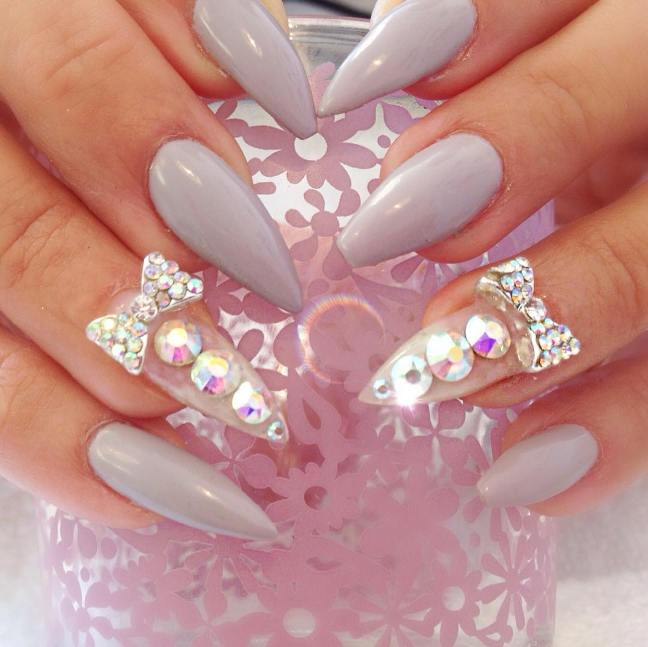 cute embellished pointy nail designs bmodish - 30 Fabulous Pointy Nail Designs To Try - Be Modish