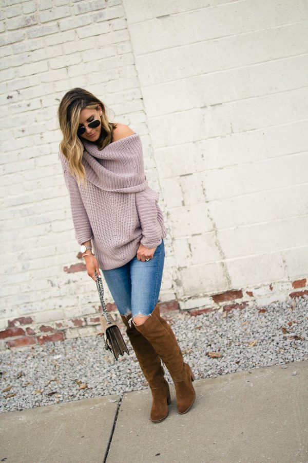cute lilac sweater casual fall outfit bmodish