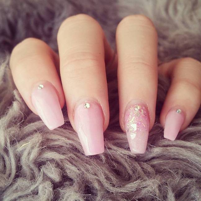 cute pink ballerina cut nails bmodish