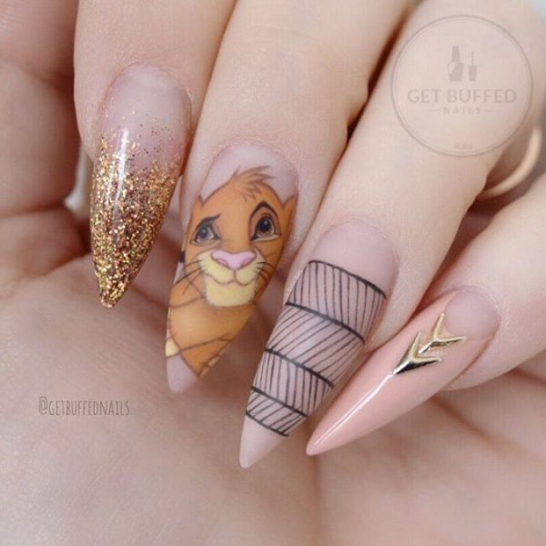 cute simba nude pointy nail design bmodish - 30 Fabulous Pointy Nail Designs To Try - Be Modish