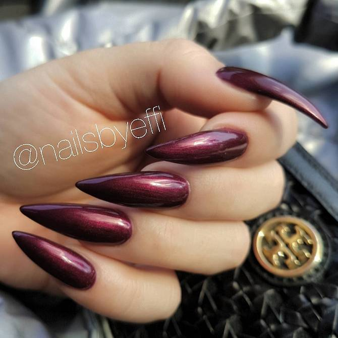 deep berry purple pointy nail designs bmodish