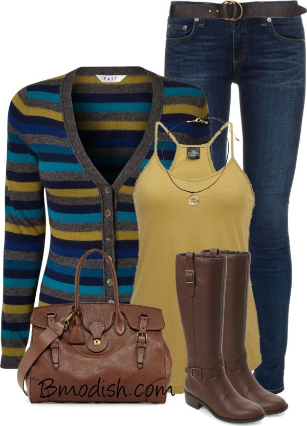 east stripe cardigan casual polyvore fall outfit bmodish