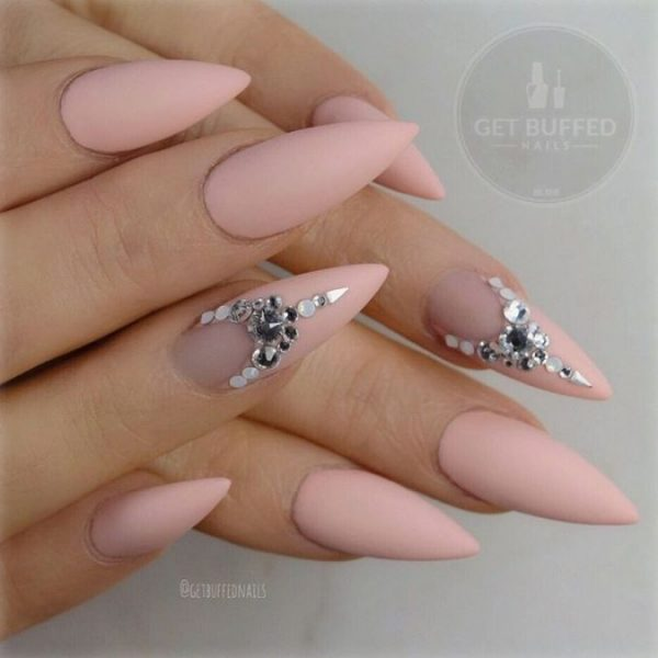 embellished nude stilleto nails bmodish