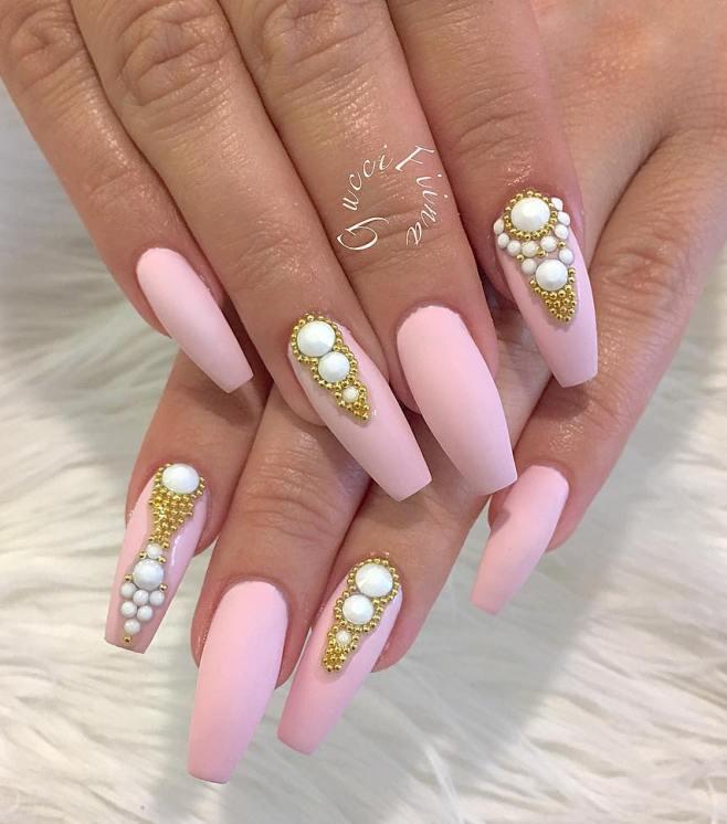 embellished pink ballerina nails bmodish