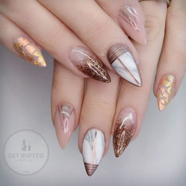 fall marble and glitter pointy nails bmodish
