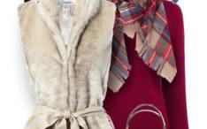 fur vest purple sweater cute fall polyvore outfit bmodish
