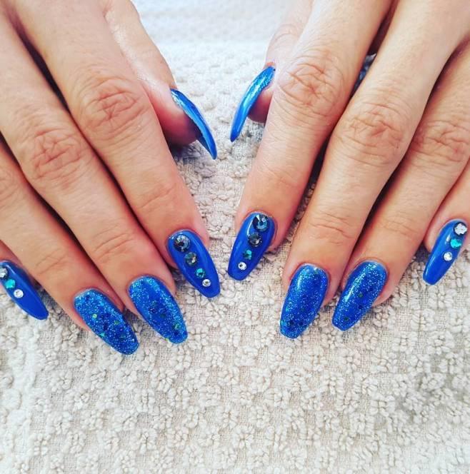 glitter blue ballerina nails bmodish