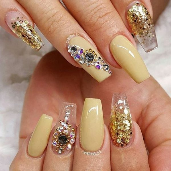 glitter gold and yellow cute ballerina nail design bmodish