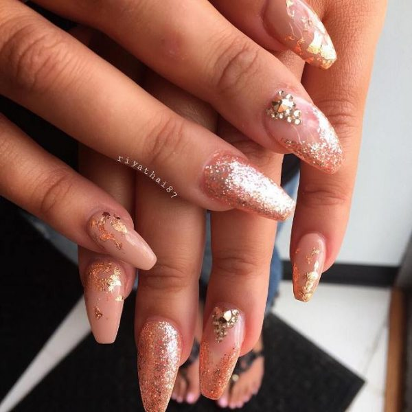 gold and glitter ballerina nails bmodish