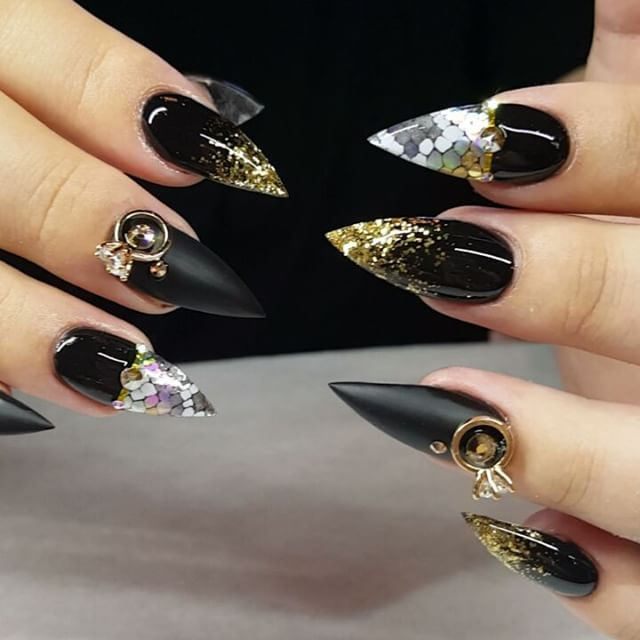 gold black pointy nail art bmodish