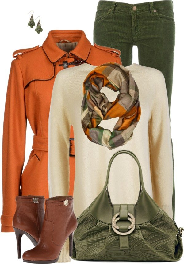 green and orange fall outfit combination polyvore bmodish