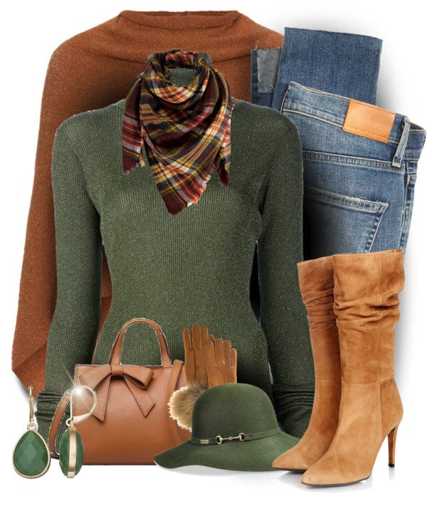 green sweater with brown poncho fall polyvore outfit bmodish