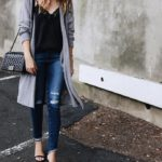 grey long cardigan with cami top fall outfit bmodish