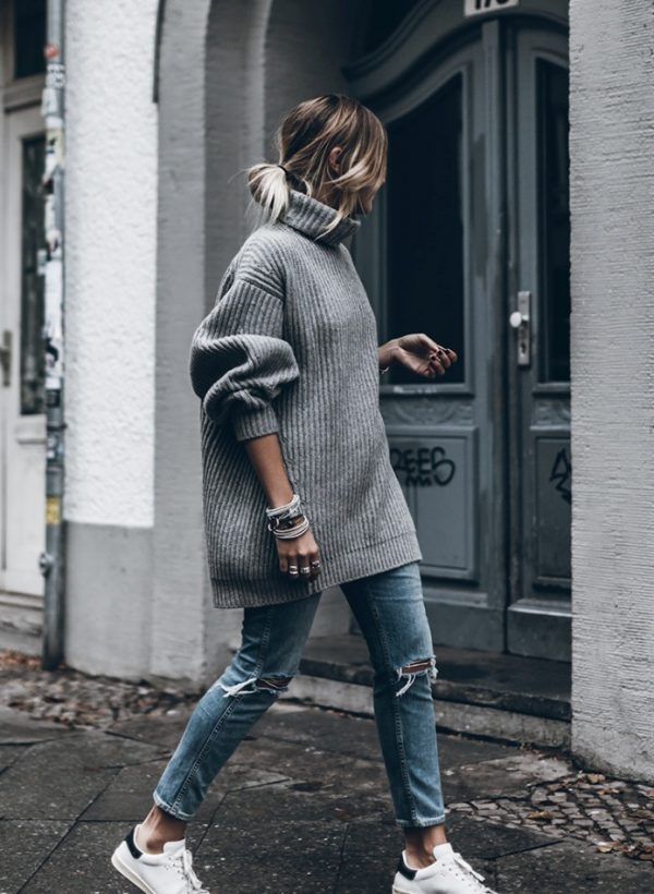 grey oversize sweater casual fall outfit bmodish