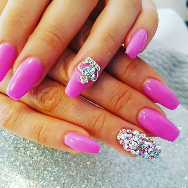 hot pink ballerina nail art bmodish