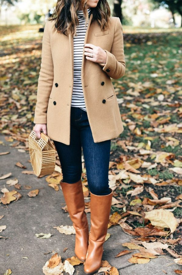 j crew riding boots with camel blazer and striped top cute fall outfit bmodish