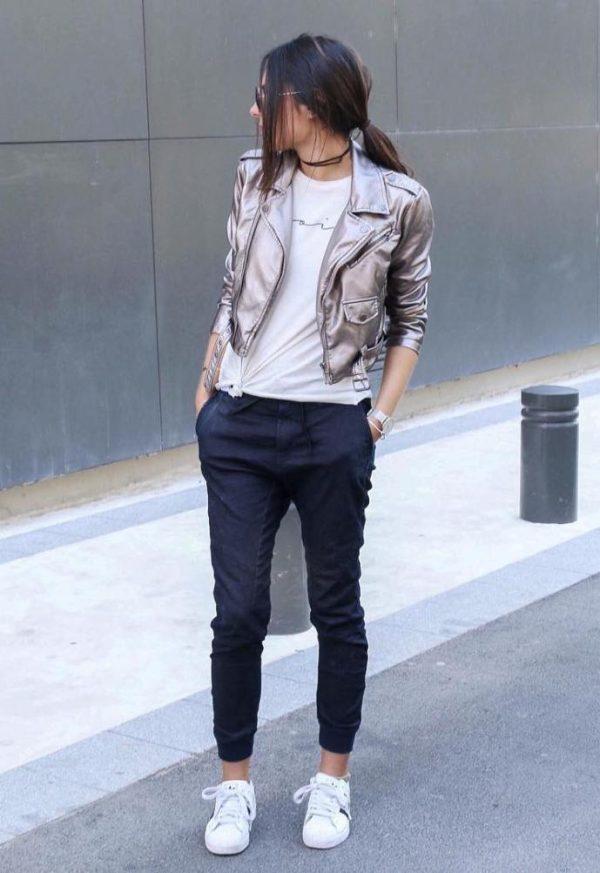 jogger pants outfits - jogger pants silver jacket casual outfit bmodish
