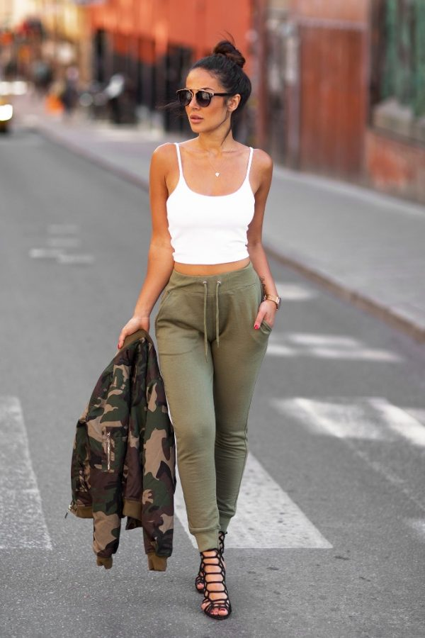 khaki jogger pants with bomber jacket bmodish