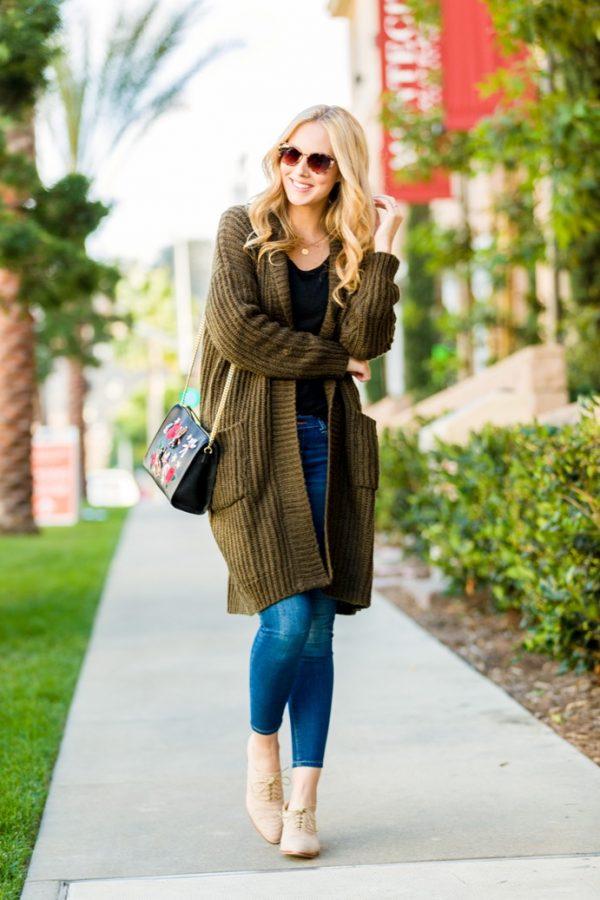 khaki long cardigan outfits fall outfit bmodish
