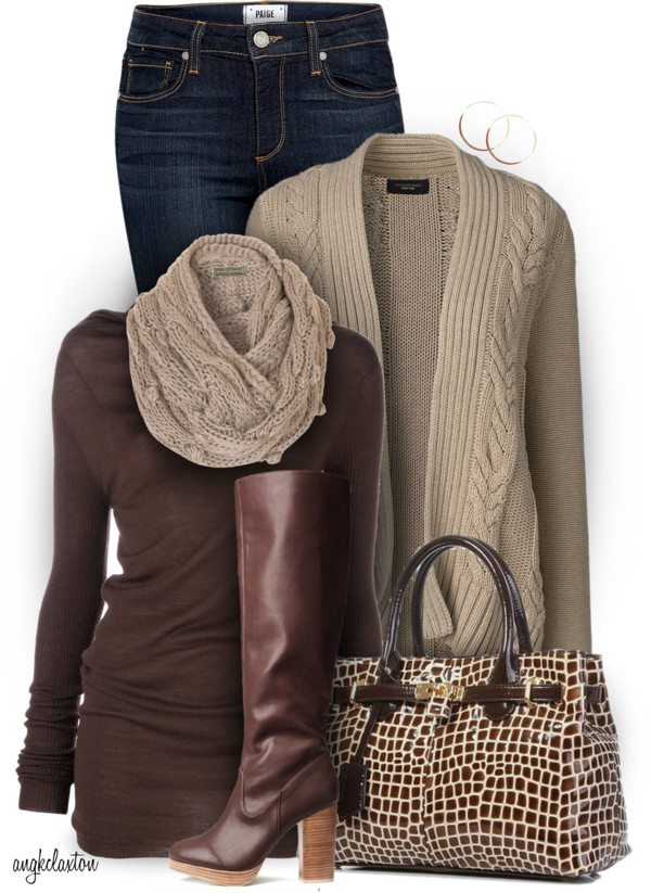 knitted scarf stylish fall polyvore outfit with tall boots bmodish