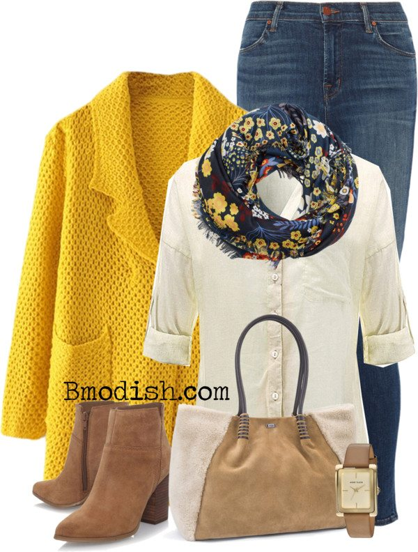 knitted yellow long cardigan cute fall polyvore outfit bmodish