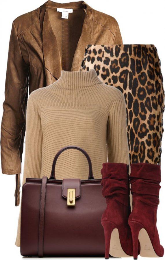 leopard skrirt stylish fall polyvore outfit bmodish