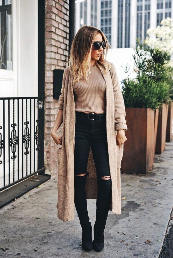 long cardigan stylish outfit bmodish