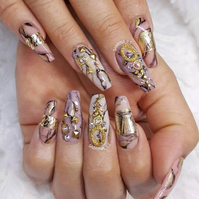 marble color ballerina nails bmodish