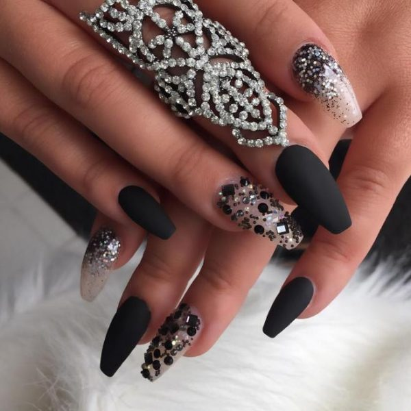 matt black and glitter ballerina nails bmodish