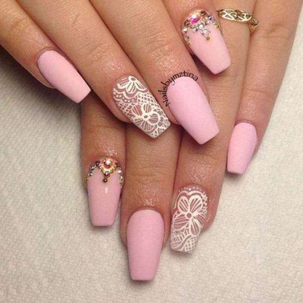 matte pink coffin nail art bmodish