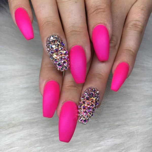 matte pink with swarowski crystal coffin nails bmodish