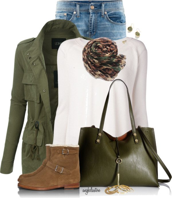 military green cargo jacket casual fall polyvore outfit bmodish