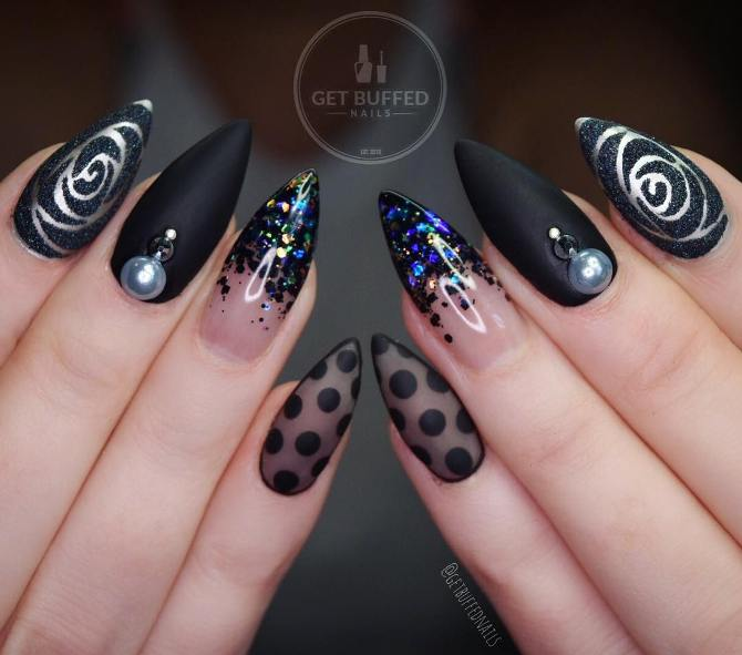 mix black pointy nail art bmodish