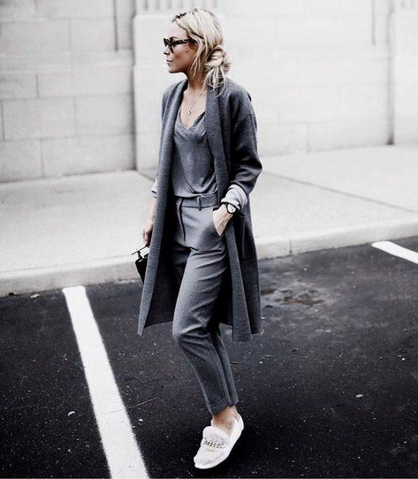 monochrome cardigan outfit bmodish