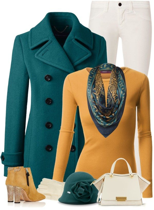 mustard jumper with teal coat stylish fall polyvore outfits bmodish