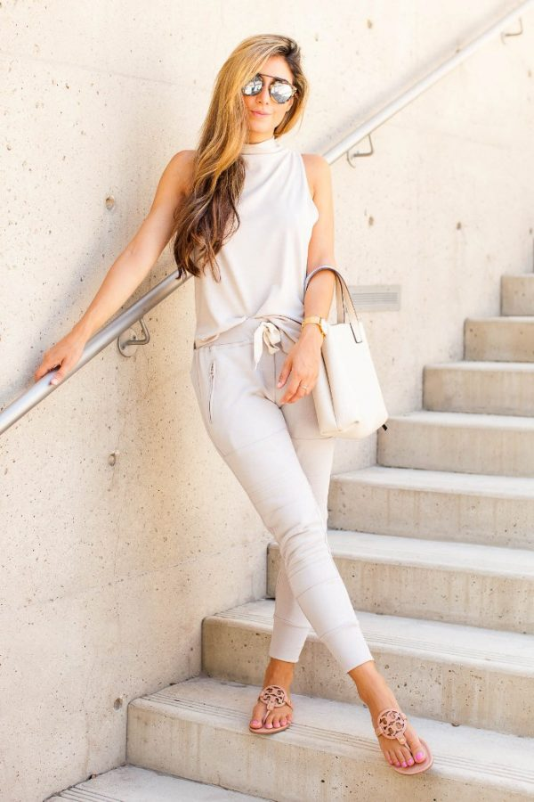 neutral jogger pants outfit bmodish