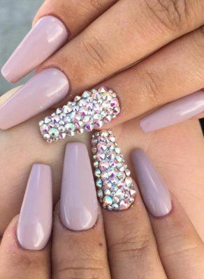 nude color studded ballerina nails bmodish