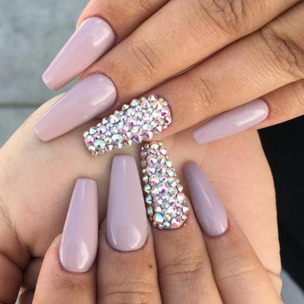 nude color studded ballerina nails bmodish