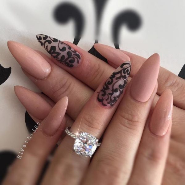 nude pointy stilleto nail design bmodish
