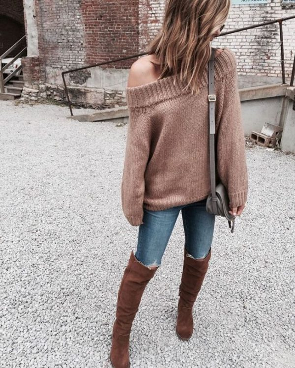 off shoulder sweater with skinny jeans and tall boots fall outfit bmodish