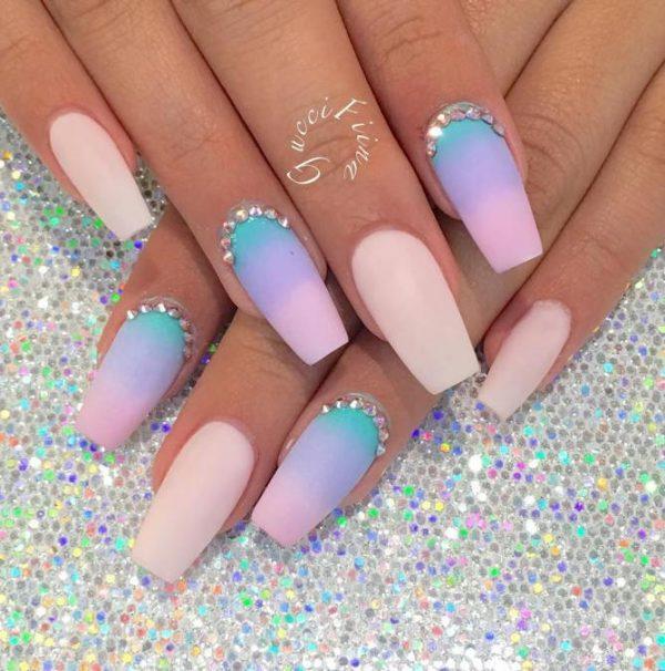 ombre pink blue ballerina nail design bmodish