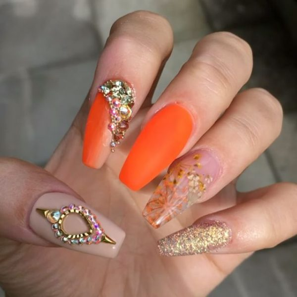 orange embellished ballerina nails bmodish