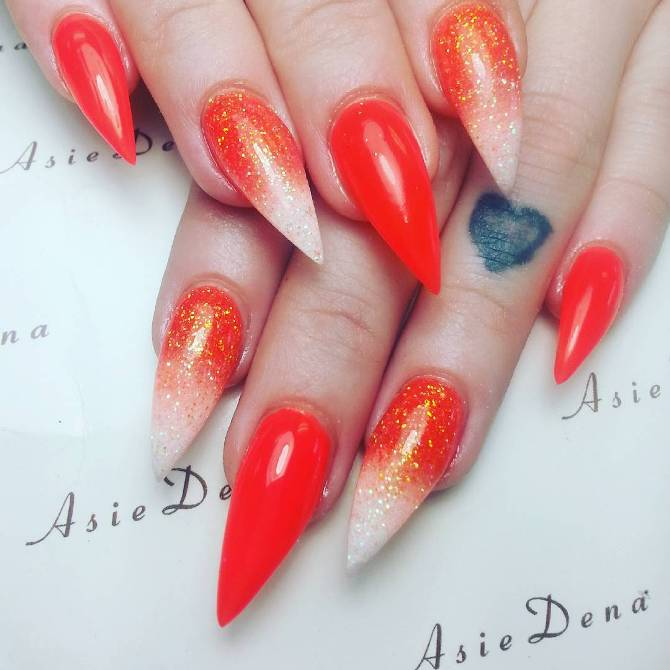 orange glitter ombre pointy nail art bmodish
