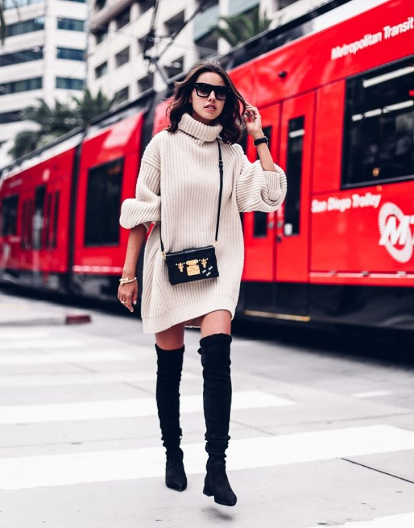 oversize sweater dress with over knee boots bmodish