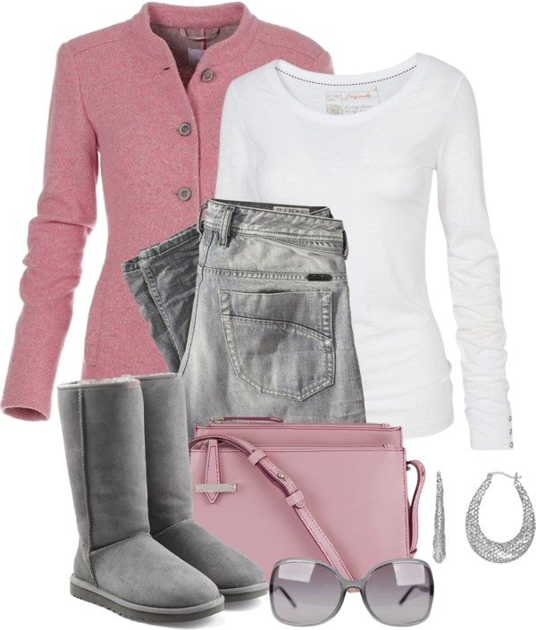 pink and grey casual cute fall polyvore outfit idea bmodish